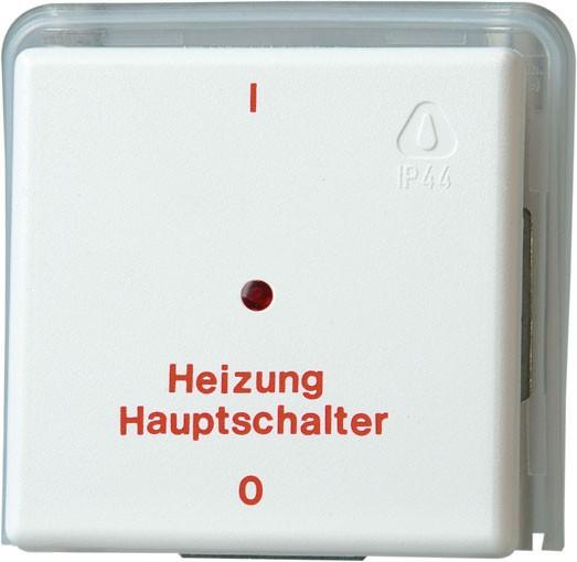 Heitzungsnotschalter, 2-polig, IP44, reinweiß