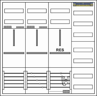 Zählerschrank, 2 Zähler/ 1 TSG/ 1Verteiler,