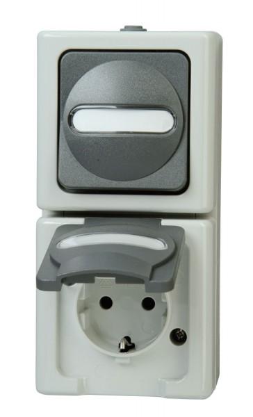 Kombination Schalter/ Steckdose senkrecht